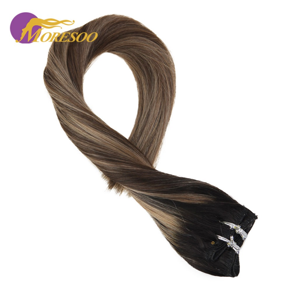 Moresoo Clip In Hair Extensions Balayage Color Black #1b Fading To Brown #4 Mixed With Blonde #14 Remy Human Hair 9pcs/100g Exquisite Craftsmanship; Clip-in Full Head