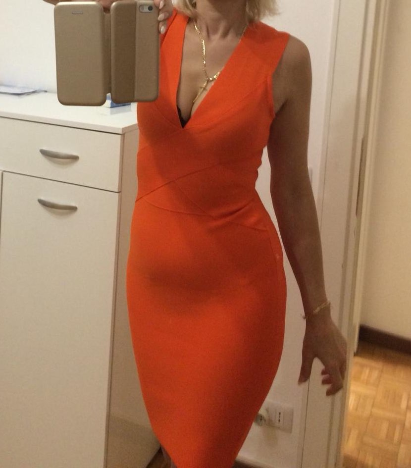 Summer Women Bandage Dress Vestidos Orange Red Tank Sexy Deep V Neck Sleeveless Bodycon Celebrity Runway Party Dress photo review
