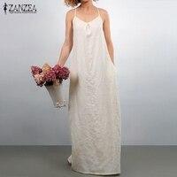 ZANZEA Women Summer Dress 2018 Casual Loose Long Maxi Party Dresses Ladies Sexy Sleeveless Vintage Oversized
