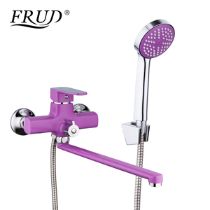 Image 2 - FRUD New Bathroom Shower Faucets set Colorful Bathtub Tap Wall Mounted Tap With Hand Shower Head robinet R22301/R22302/R22303
