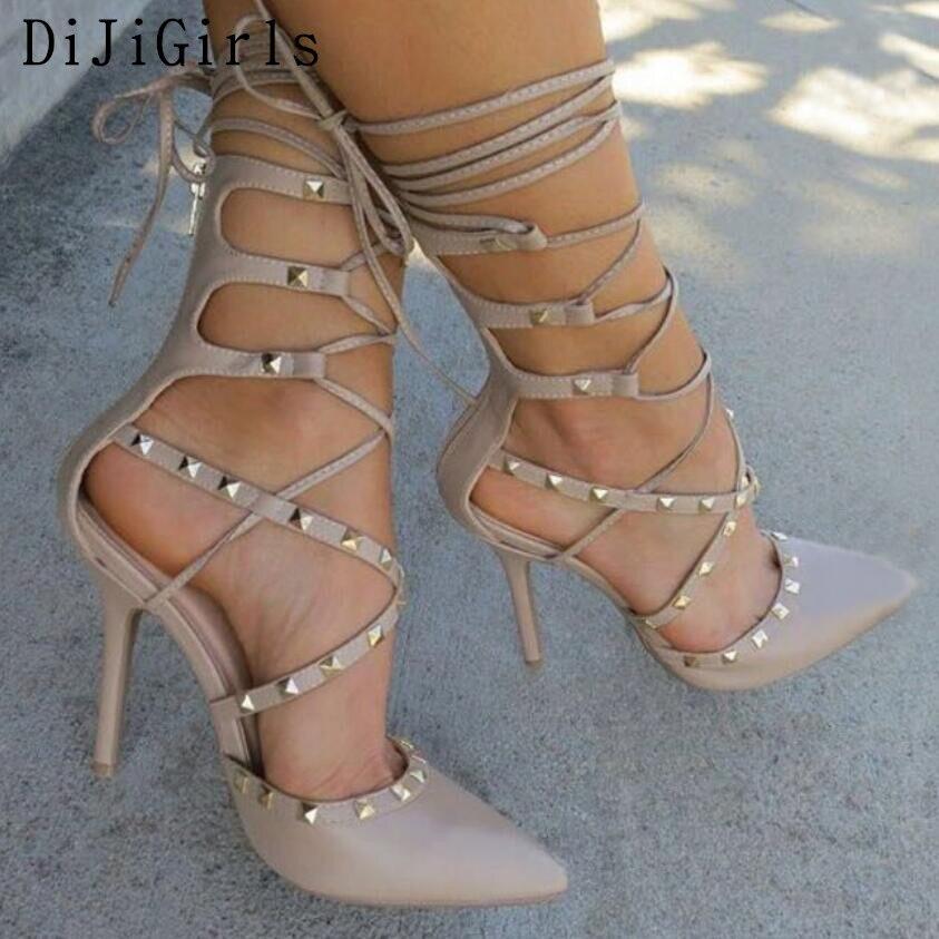 DiJiGirls nuevo estilo sandalias romanas mujeres bombas botines mujeres Sexy hueco Cruz encaje hasta remaches Stiletto tacones altos Zapatos mujer