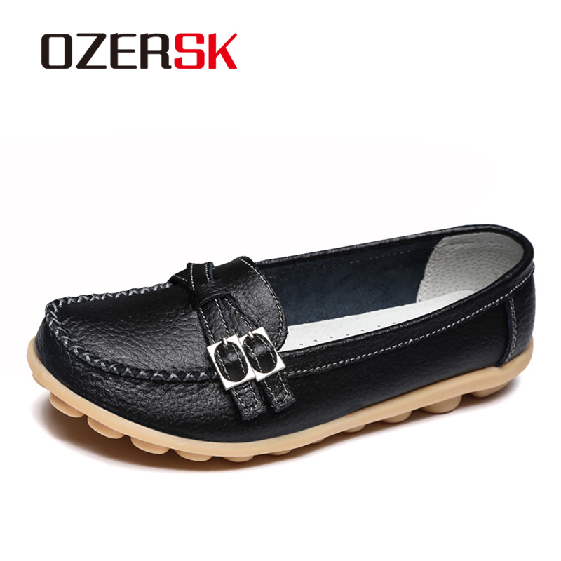 Soft Genuine Leather Shoes Women Slip On Woman Loafers Moccasins Female Flats Casual Women's Buckle Boat Shoes Plus Size 35-42 yaerni plus size 35 42 women flats women genuine leather flat shoes woman loafers newest fashion female casual single shoes