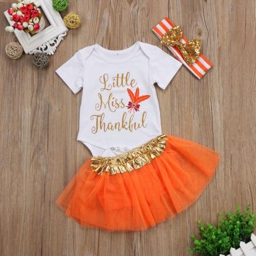 6ead436b9fa6f 3PCS Cute Newborn Baby Girls Infant Thanksgiving Clothes Kids Princess  Cotton Romper Tutu Skirts Headband Outfits Clothing Sets