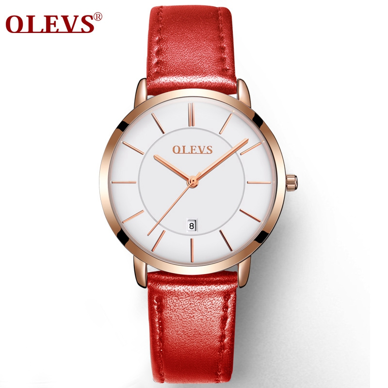 Genuine Watches OLEVS Luxury Women Rose Gold Watch Casual Quartz Ladies Watch Leather Wristwatch Waterproof Clock Relojes Mujer olevs 5873 luxury hollow out dial watch women luminous hands golden quartz watches leather wristwatch ladies clock reloj mujer
