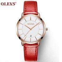 Relógios genuínos OLEVS Luxo Mulheres Rose Gold Assista Casual Relógio de Quartzo Relógio de Senhoras relógio de Pulso de Couro Relógio À Prova D' Água Relojes Mujer