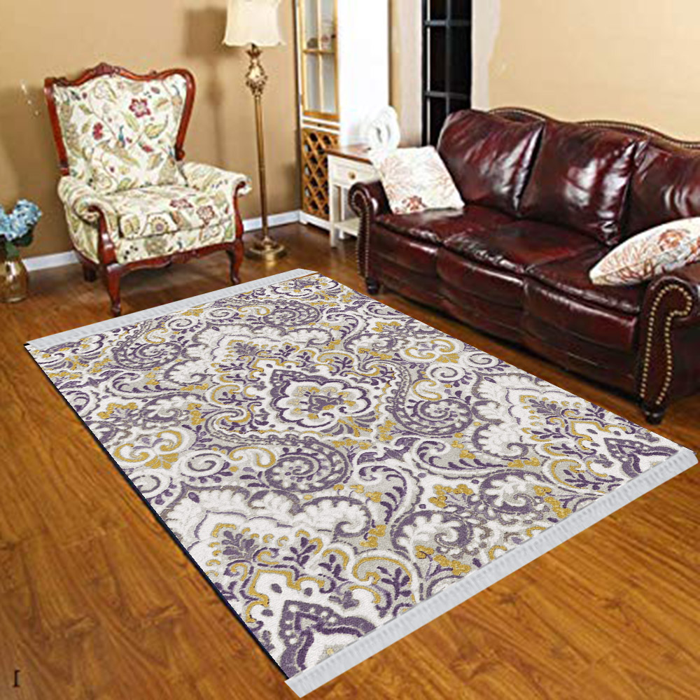 Else Brown Gray Navy Blue Ottoman Ethnic Floral 3d Print Anti Slip Kilim Washable Decorative Kilim Tassel Rug Bohemian Carpet