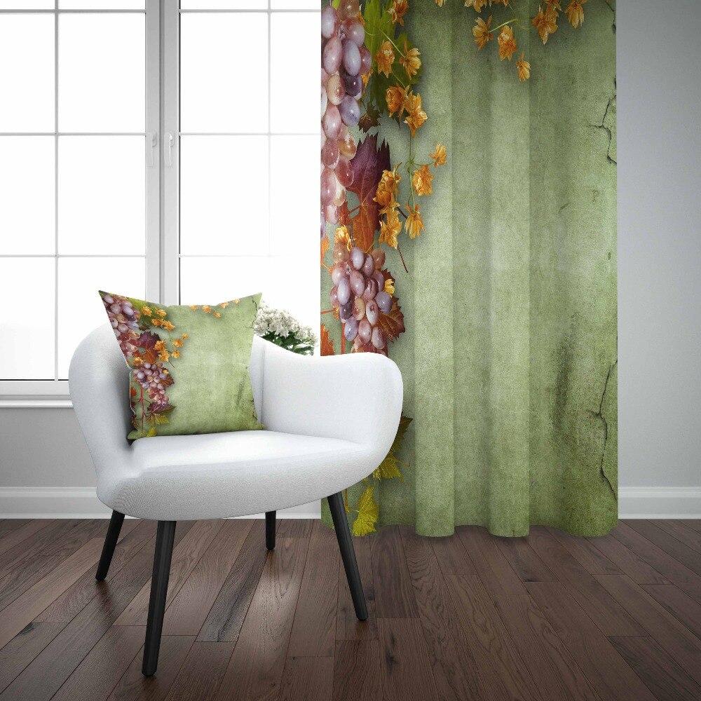Autre sol vert raisins violets Fruits feuilles jaunes impression 3d salon cuisine 1 panneau ensemble rideau combiner cadeau taie d'oreiller