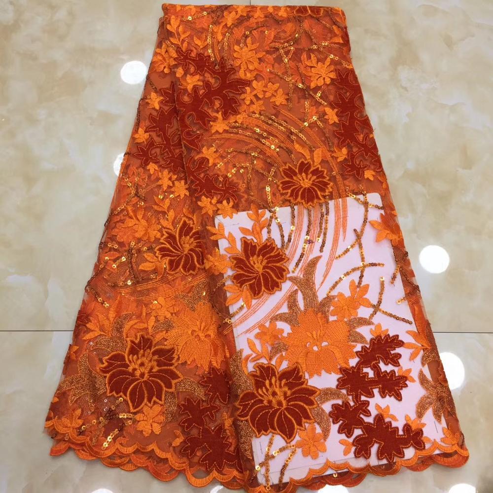 Burnt Orange Lace Fabric Nigeria Wedding Lace 2019 Fine Lace Evening Dresses Materials 5 Yrds Lot