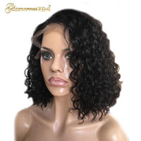 Short Curly Lace Front Wigs Bob Hairstyles Pre Plucked Natural Hairline Virgin Mongolian Kinky Curly Human Hair Lace Frontal Wig