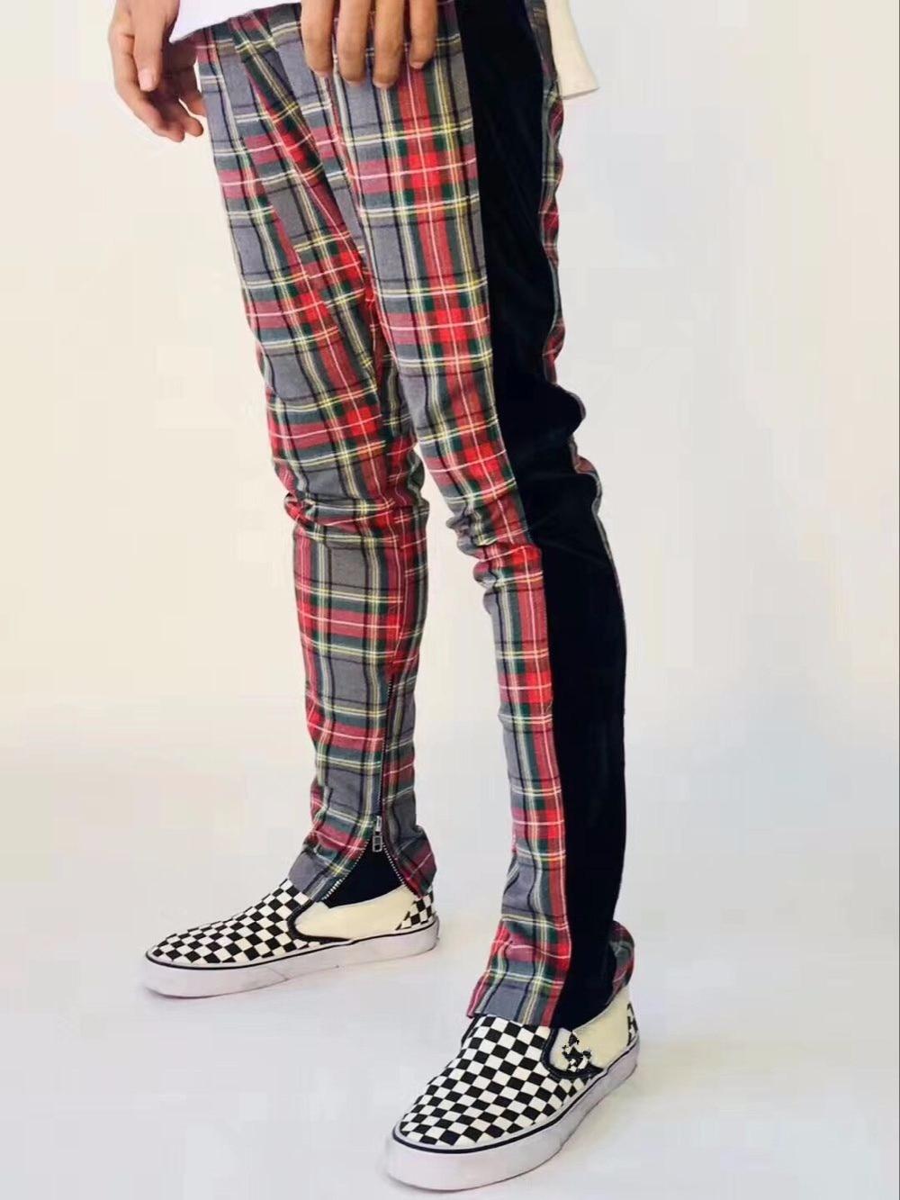 2018 Meilleure Version Rouge Noir bande grille La Peur De Dieu Glissière latérale Hommes Pantalon casual pantalons de survêtement hip hop jogger pantalon S-XL