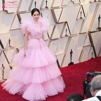 Pink Stunning Ruffles Evening Dresses High Neck Simple Elegant Prom Dress 2019 Oscar Red Carpet Gowns ZE096