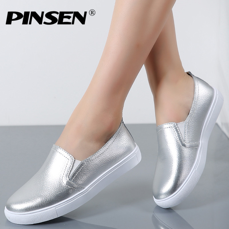 PINSEN 2017 High Quality Fashion Women Flats Loafers Casual Leather Shoes Woman Loafer Slip On Shoes For Women Moccasins slipony