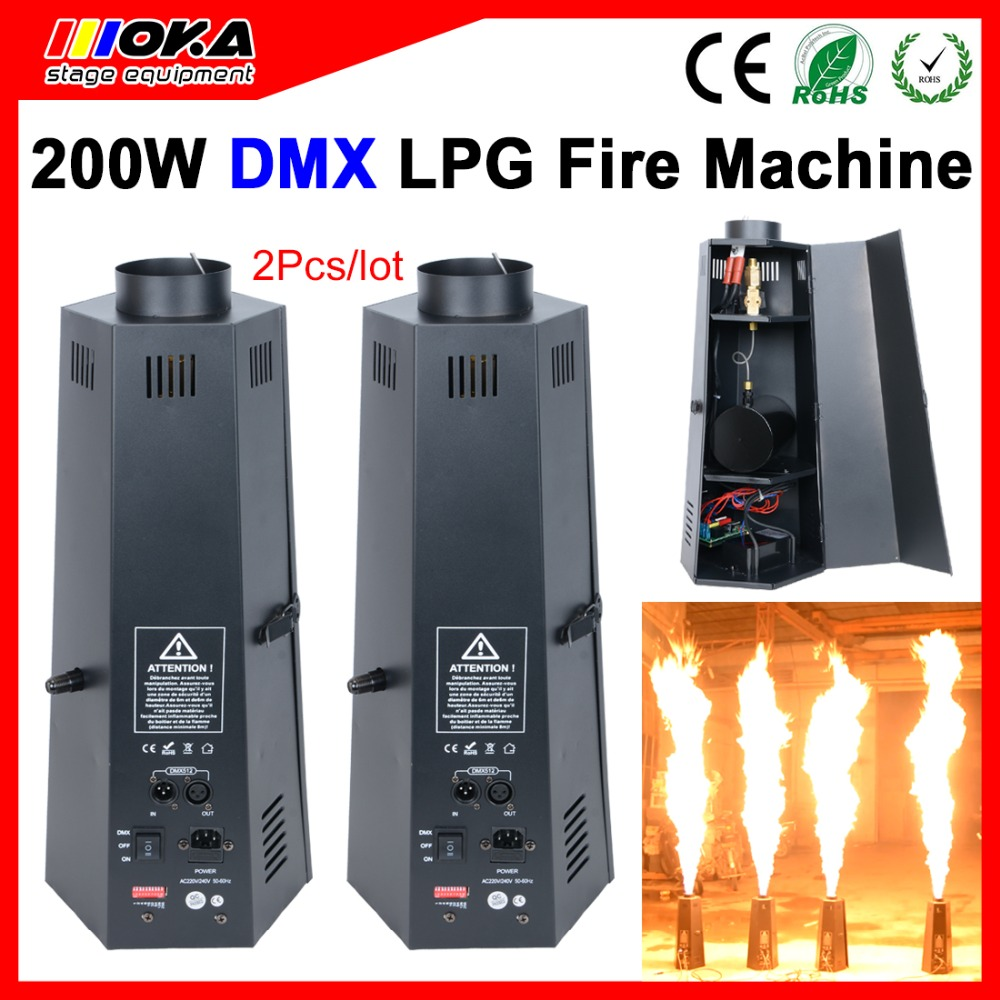 цена на 2 Pcs/lot Hot sale chinese wholesaler 6 head stage effects LPG flame machine dmx fire projector for Stage Special Effect