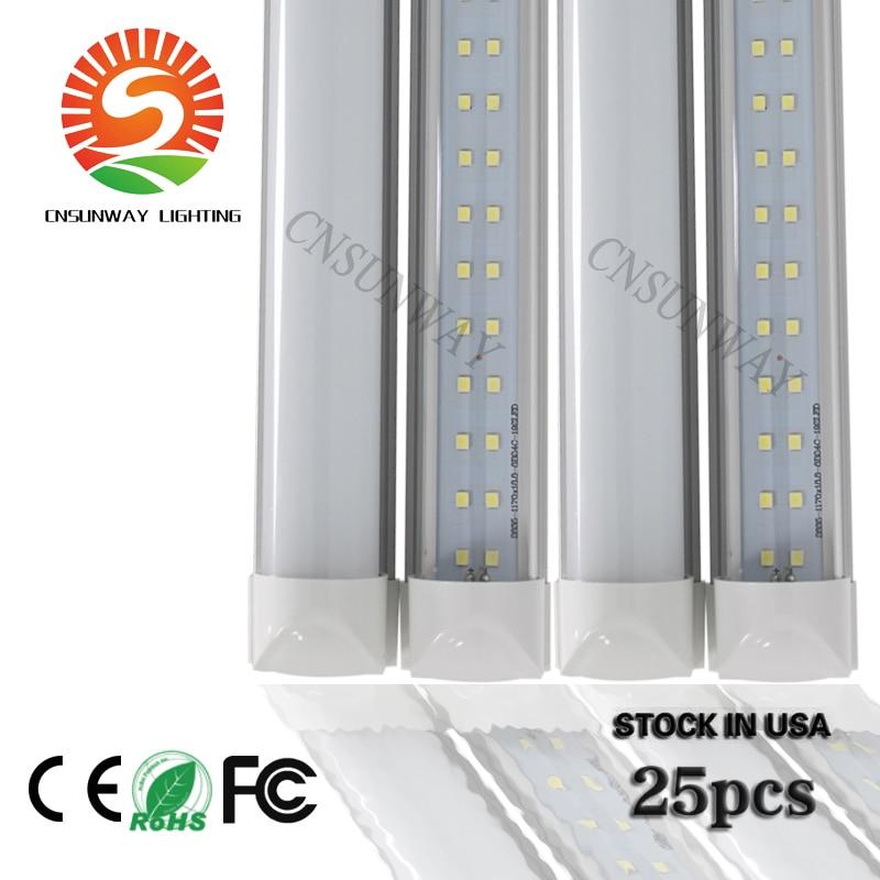 8 Ft 2 Lamp Fluorescent Strip Light White No Ssf2964wp 8ft: Double Row 8ft T8 Integrated LED Tube Light 72W Shop Light