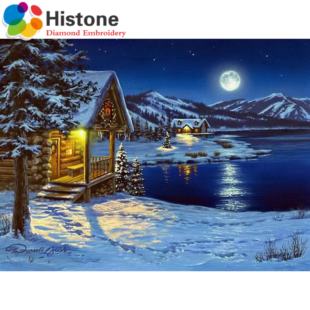 Christmas house painting - New Diamond Painting Cross Stitch Winter House 3d Diy Diamond Embroidery Pasted Round Mosaic Full Drill Christmas Gifts 70183