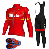Men's Long Sleeve Cycling Suit ALE Mountain Biking Clothes Set Pro Team MTB Bike Bicycle Cycling Long Sleeve Jersey and Pants F9