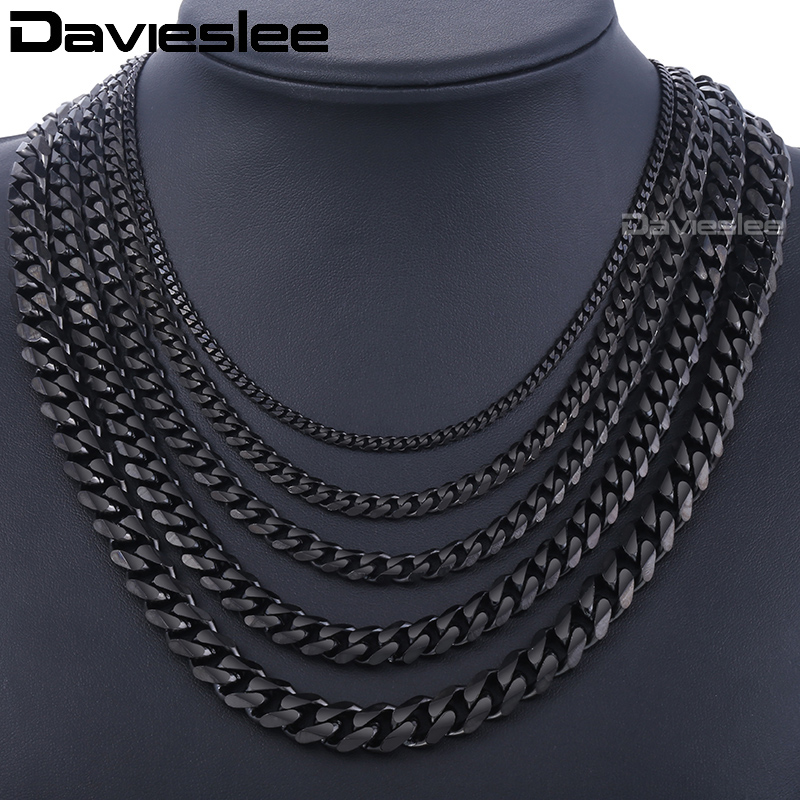 Customized  mm Mens Boys Black Tone Curb Cuban Necklace Stainless Steel