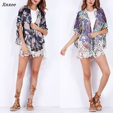 Women Summer Printed Tops Short Cardigan Tassels Boho BBYES Ladies Blouse Beach Cover Up Kimono Thin Shirt Sleeve