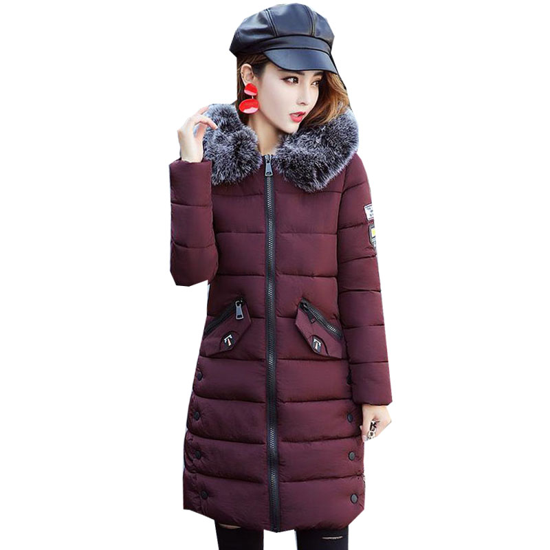Fashion Women Puffer Down Cotton Long Outwear Coat Padded Jacket Winter Warm Hooded Faux Fur Collar Long Sleeve Parka Overcoat