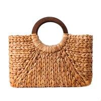 Для женщин Винтаж ротанга сумки женские богемные летние пляжные сумки соломенные леди простой ткань сумка ручной работы Повседневное Боль...