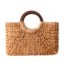 نساء Vintage حقيبة يد الروطان الإناث البوهيمي الصيف شاطئ حقائب قش سيدة بسيطة نسج حقيبة اليدوية عادية كبيرة حمل SS3032