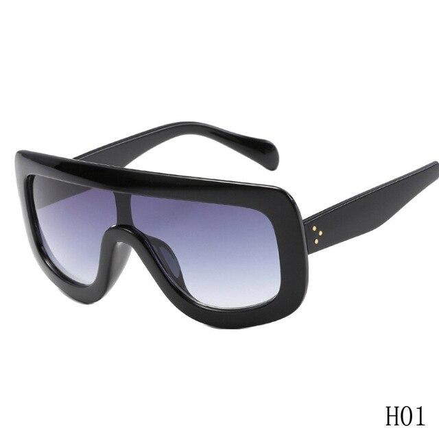27c055c4bfc Fashion Trend Sunglasses Women Luxury Black Brown Large Frame Retro Vintage Sun  Glasses Uv400 One-piece Eyewear