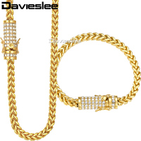 Davieslee Womens Mens Jewelry Set Miami Fraco Box 316L Stainless Steel Iced Out Cubic Zirconia CZ