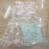 High Quality African Tulle Lace Fabric,3D Fabric Beads Flowers Wedding Dress Lace Tissue HJ1016 1