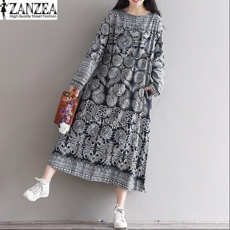 Womens Impresión Kaftan Cuello Lino O Señoras Floral Casual Zanzea De Algodón Larga 2018 Elegante Manga Largo Masajeadores Vestido 4vFdnWSq