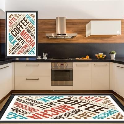 Autre rouge bleu moka café Latte écriture 3d motif impression antidérapant microfibre cuisine moderne décoratif lavable zone tapis