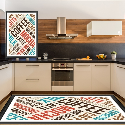 Else Red Blue Mocha Coffee Latte Writen 3d Pattern Print Non Slip Microfiber Kitchen Modern Decorative Washable Area Rug Mat