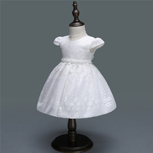 Baby Girl Dress 2018 White Flower Cute Princess Party Dresses 1 Year Birthday Dress O-Neck Infant Christening Gowns baby wow light blue baby toddler girl princess dress girl wedding 1 year birthday christening gowns flower girl dresses 80131