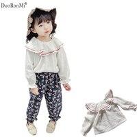 2018 New Girls Blouse Kids Children Spring Shirt Cute Cotton Linen Shirts Peter Pan Collar Ruffle
