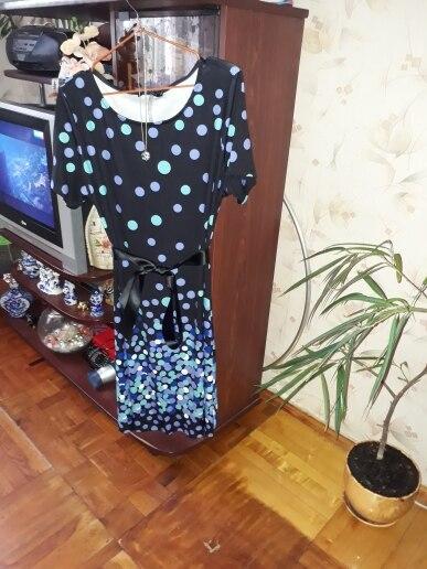 Dress Women Plus Size Party Summer Polka Vintage Blue Dot Print Dresses Loose Casual 5Xl 6Xl Big Size Vestidos photo review