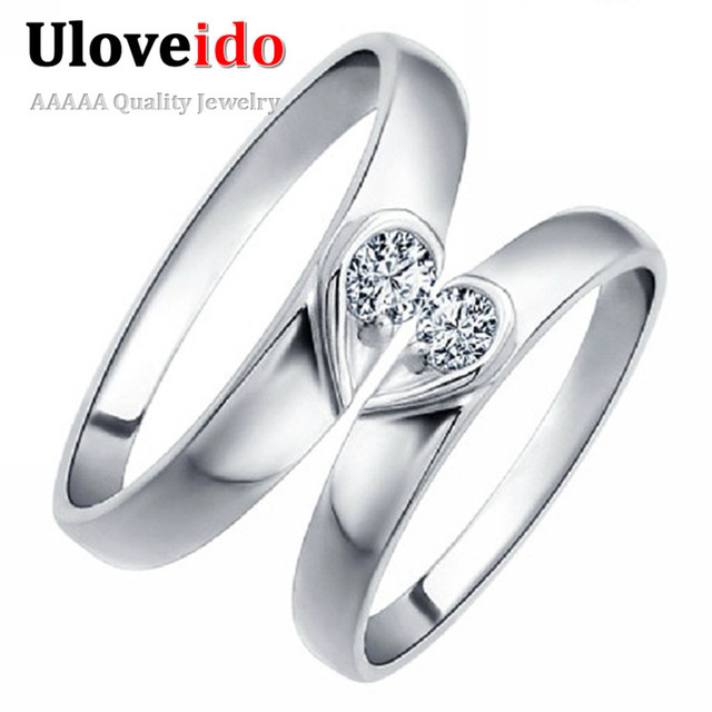 uloveido couple wedding rings for men and women silver color fashion heart engagement ring 2016 vintage