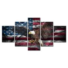 Retro Bald Eagle USA US American Flag Military Canvas Prints Wall Art Independence Day Vintage Home Decor Pictures for Living(China)
