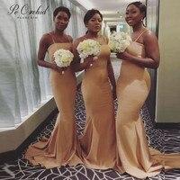 PEORCHID Custom Ladies Yellow Bridesmaid Dresses Mermaid Long African Sister Of The Bride Dresses Vestidos De Dama De Honra 2019