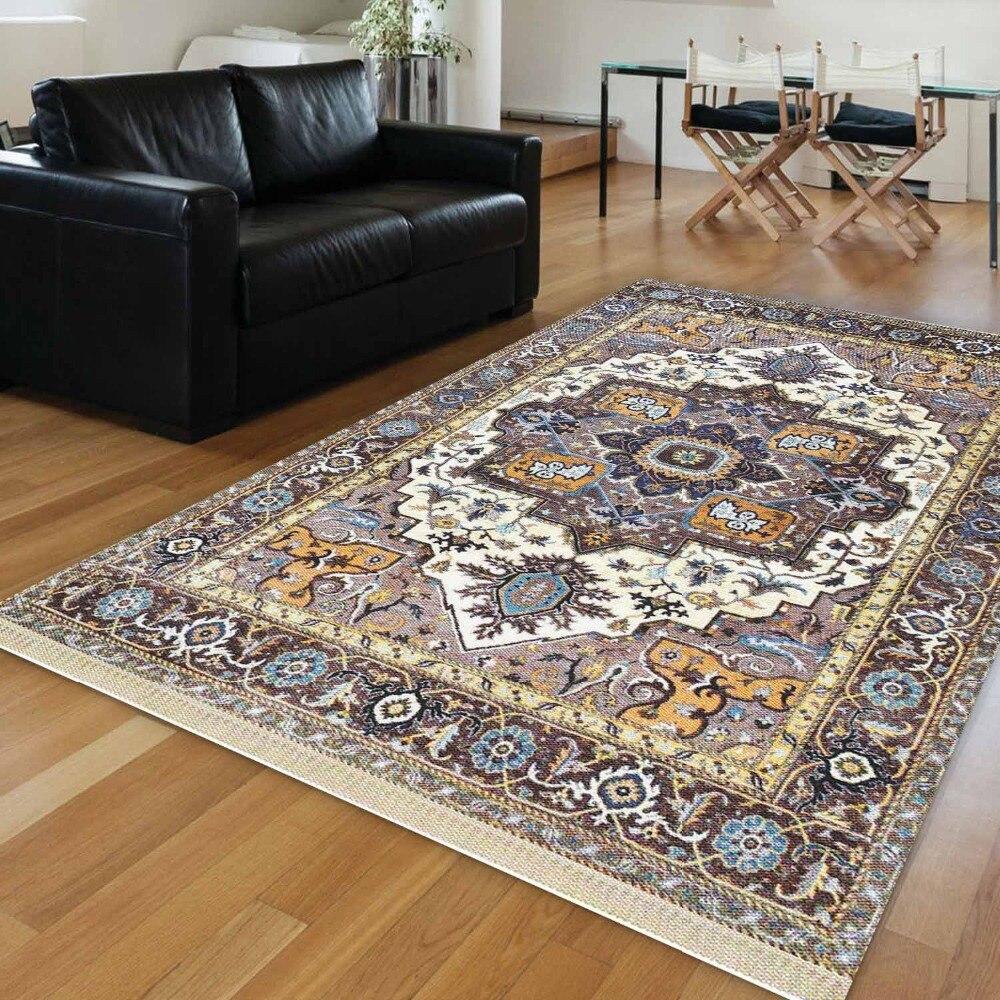 Else Blue Brown Turkish Tradional Authentic 3d Print Anti Slip Microfiber Washable Decorative Area Rug Kilim Bohemian Carpet