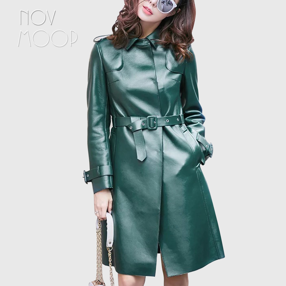 2018 New Winter autumn women green black genuine leather real lambskin long trench coat with sashes casaco feminino ropa LT2566