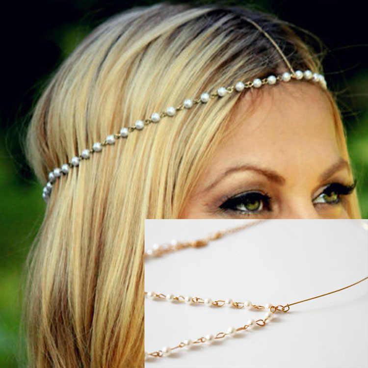 Mujeres Bohemia Metal 4mm imitación perla elasticidad bandas cabeza cadena joyería frente diadema accesorios tocado
