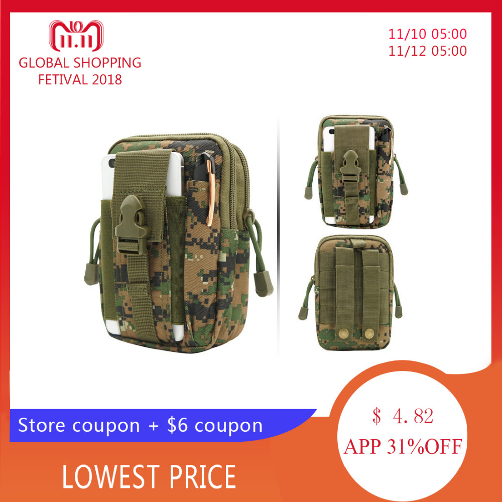 все цены на Laamei Army Military Waist Bags Waist Pack Small Pack Belt Bag Oxford Cloth Phone Pouch Work Bags Mobile Phone Wallet Travel Bag