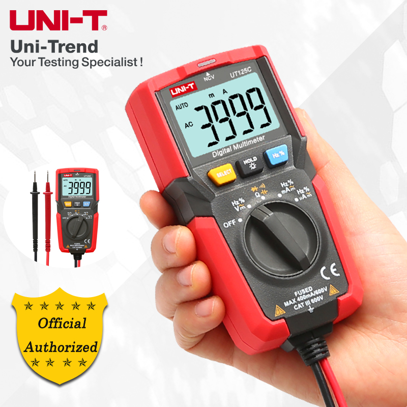 UNI-T UT125C Pocket Digital Multimeter, Resistor/Capacitor/Frequency/Duty Cycle/On/Off/Diode Test, NCV Test