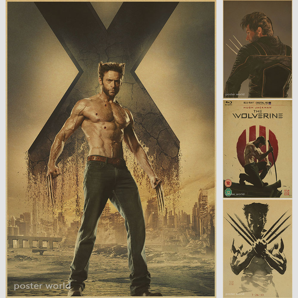 X-Men Wolverine Movie Poster Home Furnishing decoration Kraft Movie Poster Drawing core Wall stickers