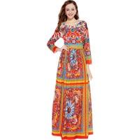 2017 Hot Selling European Women S Fashion Bohemian Dresses Long Sleeve Colorful Printed Plus Size 4XL