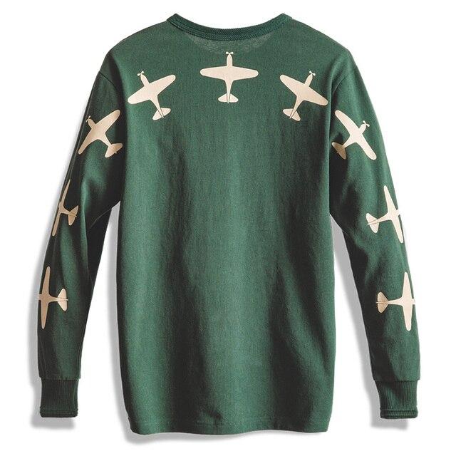 488a7a55 Maden 1983s Airplane Print Men Sweaters Tee T-shirt Army Green Clothing Vintage  Retro Long sleeve Cotton Military Japan AMEKAJI