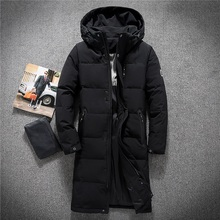 Mens Hooded Extra Long Duck Down Padded Jackets Man Thick Winter Coats Male Fashion Overcoat Keep Warm Outerwear 8005