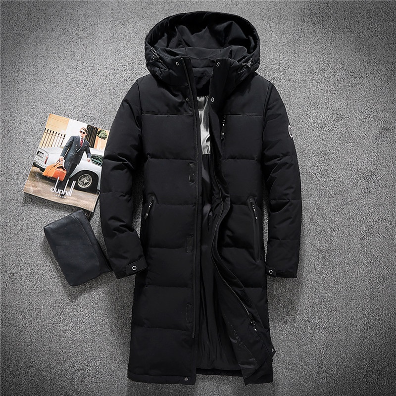 Mens Hooded Extra Long Duck   Down   Padded Jackets Man Thick Winter   Down     Coats   Male Fashion Long Overcoat Keep Warm Outerwear 8005