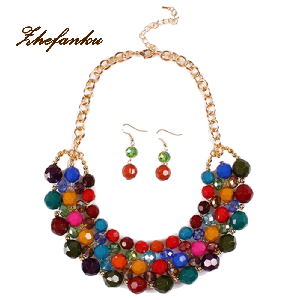 New Women's Bohemian Style Colorful Bead Choker Chunky Statement Jewelry Set Necklace Earrings - Click Image to Close