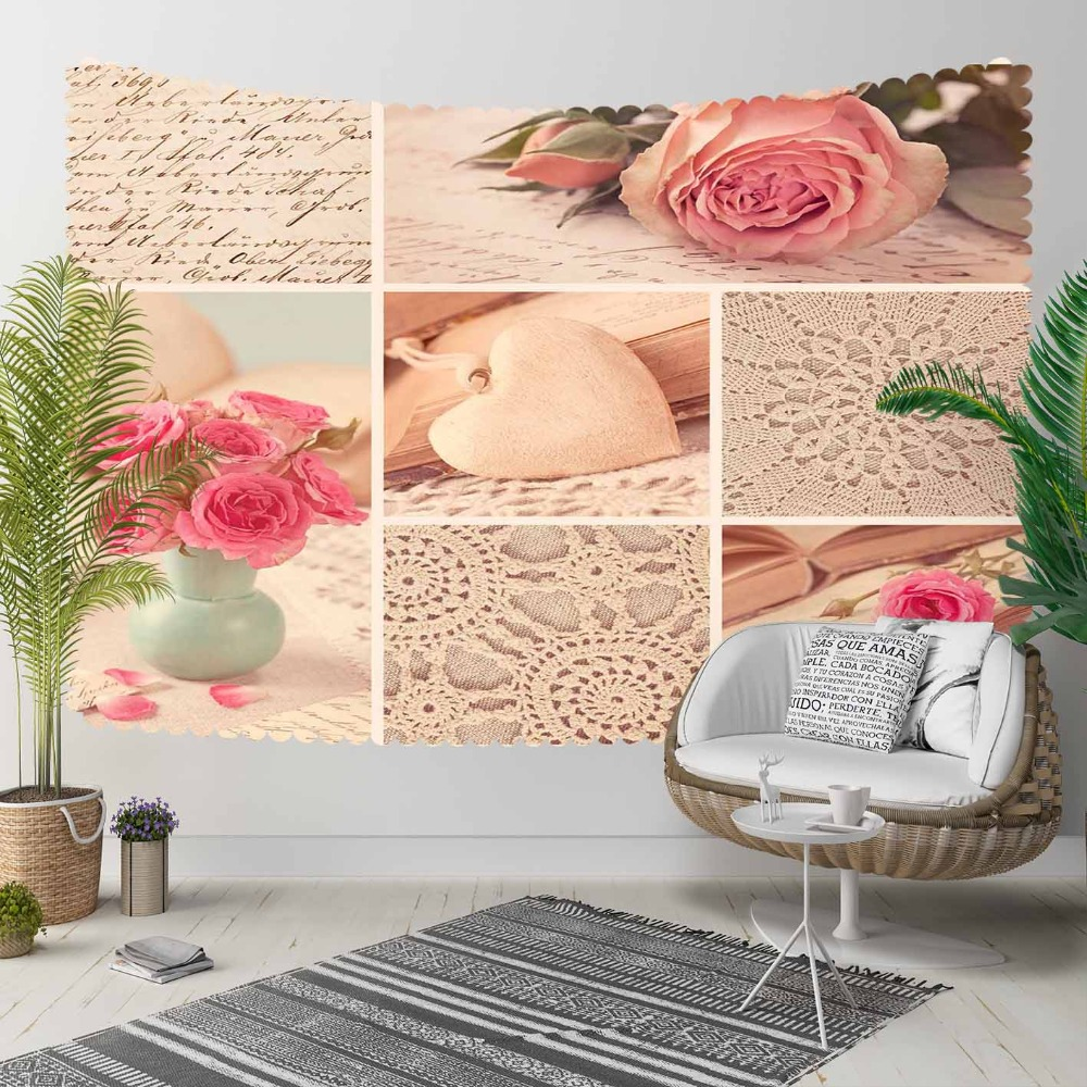 Else Vintage Gray Lace Pink Roses Flowers Patchwork 3D Print Decorative Hippi Bohemian Wall Hanging Landscape Tapestry Wall Art