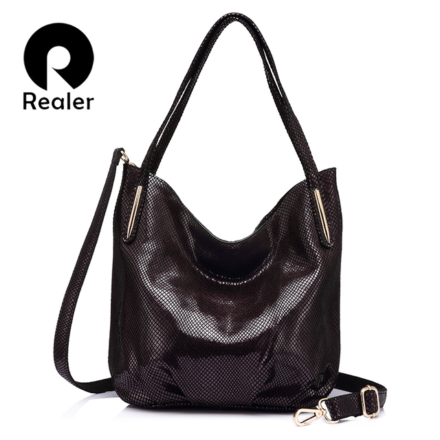 REALER вместительная модная женская сумка на плечо из натуральной кожи высокого качества, большая кожаная сумка хобо для женщин